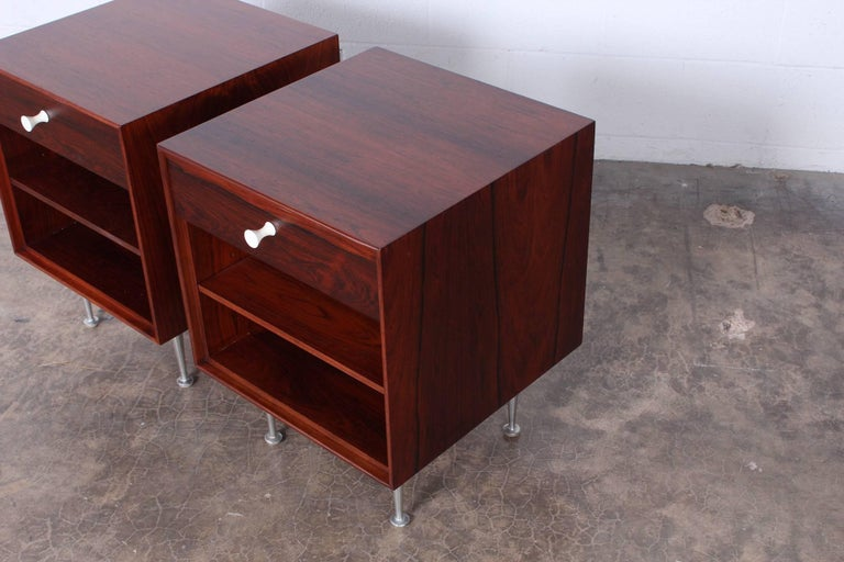 Pair of Rosewood Thin Edge Nightstands by George Nelson For Sale 5