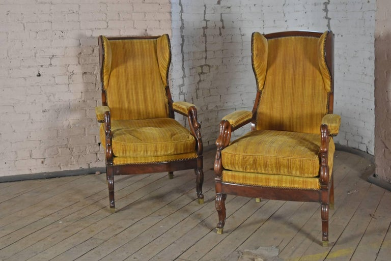 Pair of 19th Century French Empire Mahogany Wing-Back Armchairs In Excellent Condition For Sale In Troy, NY