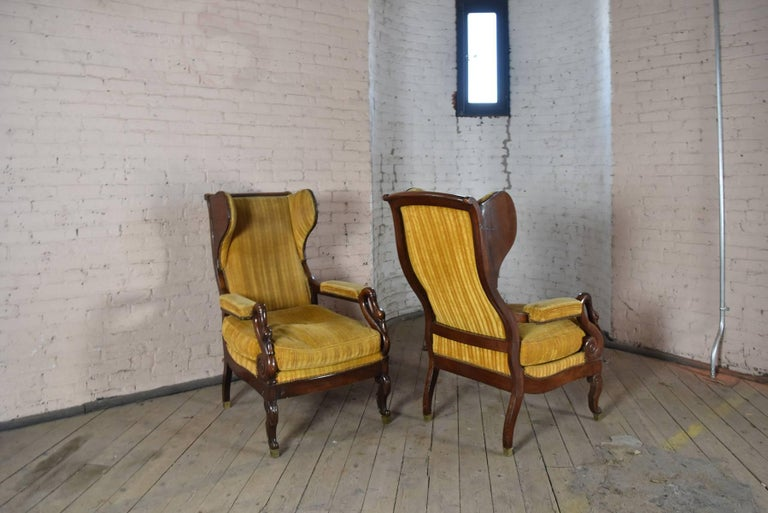 Pair of 19th Century French Empire Mahogany Wing-Back Armchairs For Sale 2