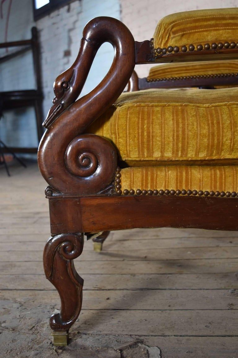 Pair of 19th Century French Empire Mahogany Wing-Back Armchairs For Sale 4