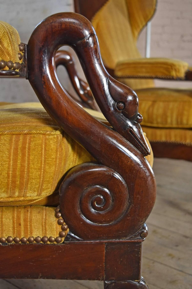 Pair of 19th Century French Empire Mahogany Wing-Back Armchairs For Sale 5