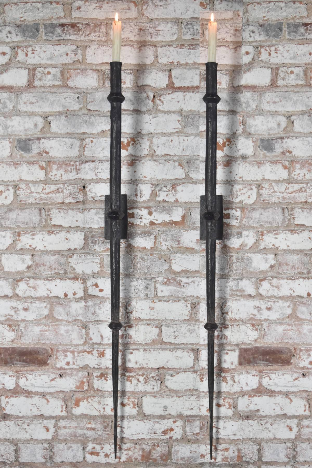 Large, Hand Forged Wrought Iron Wall Sconces, Timeless, Bold And Stark  Appearance