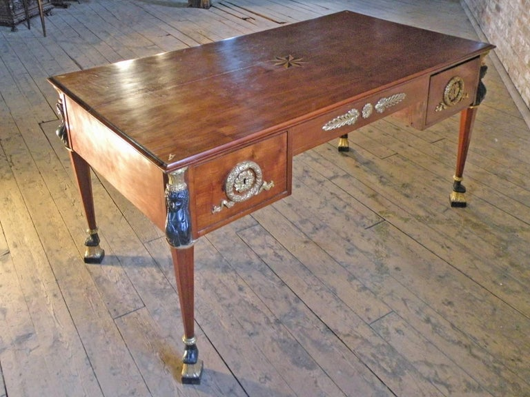 French 19th Century Empire Mahogany Partners Desk In Good Condition For Sale In Troy, NY