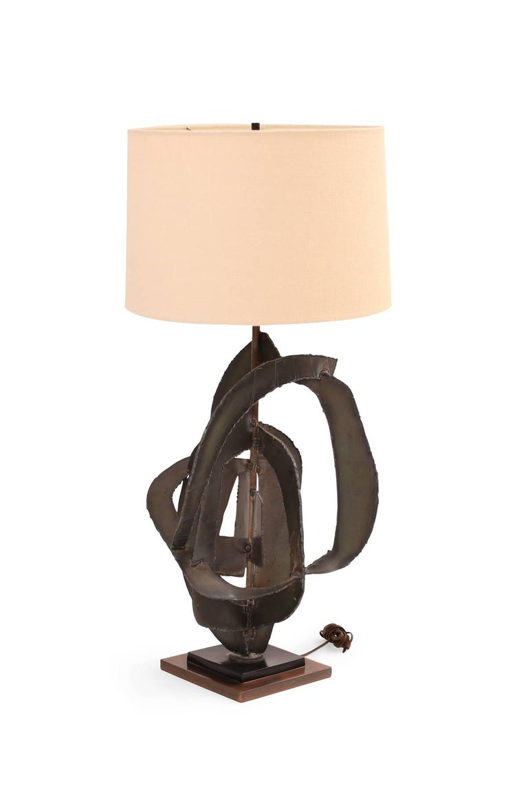 American Harry Balmer for Laurel Massive Brutalist Table Lamp For Sale