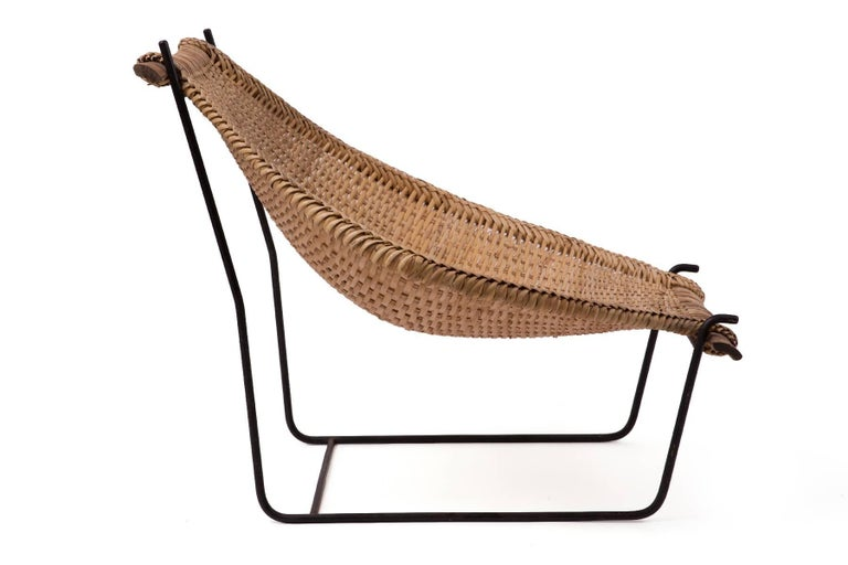 North American John Risley Wicker and Iron Chaise For Sale