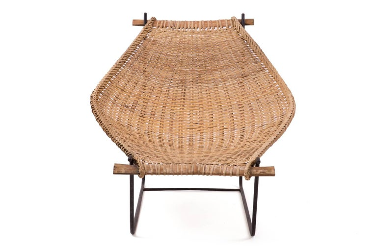 Mid-20th Century John Risley Wicker and Iron Chaise For Sale