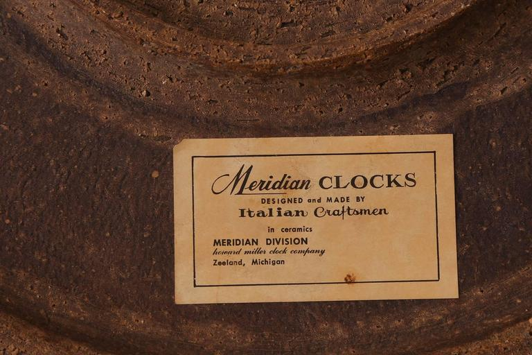 Ceramic Meridian Clock by Raymor For Sale 1