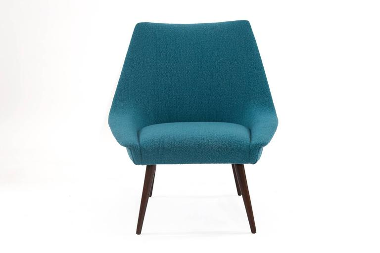 American Pair of Sculptural Upholstered Lounge Chairs For Sale