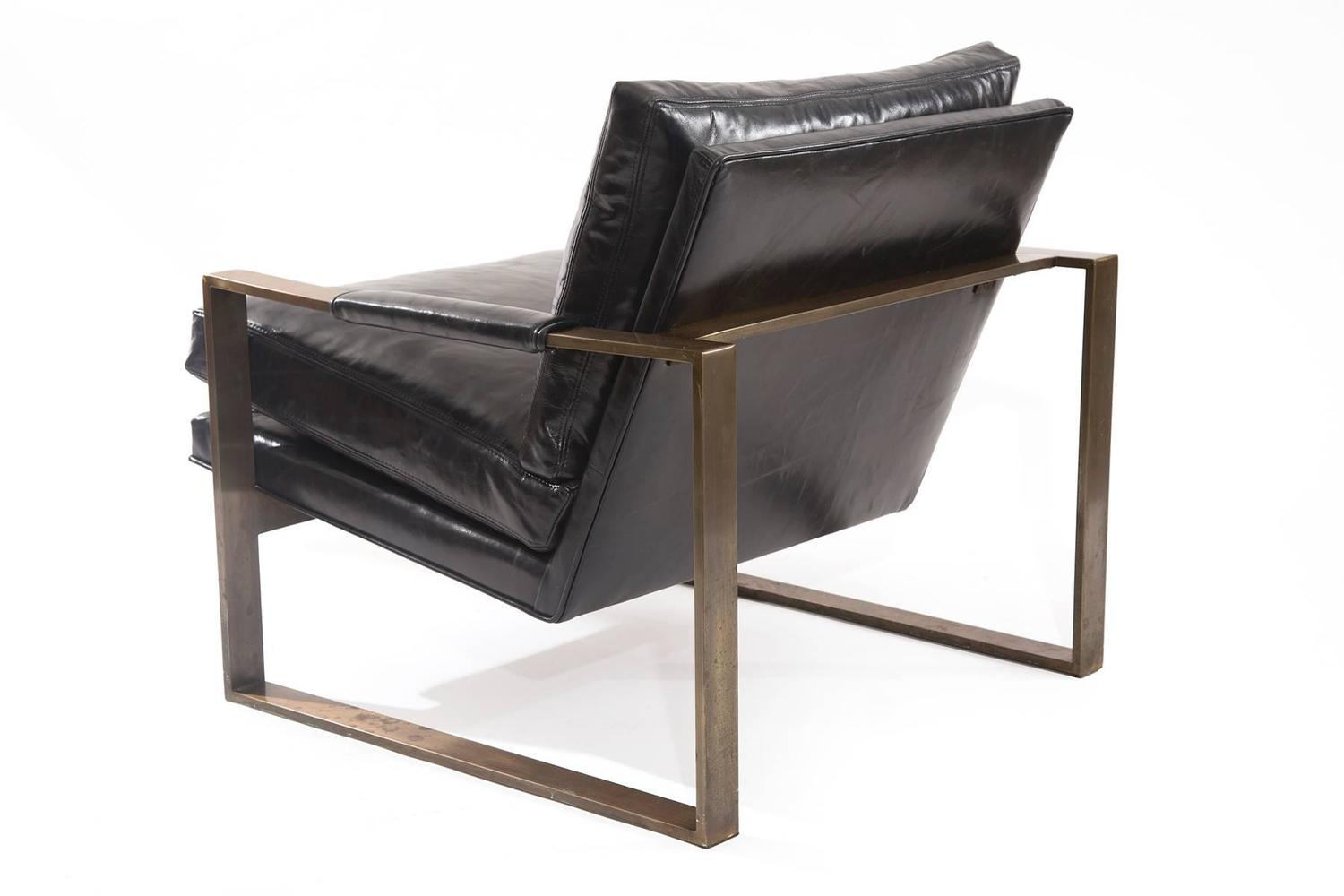 Rare Bronze and Leather Lounge Chair by Milo Baughman at 1stdibs