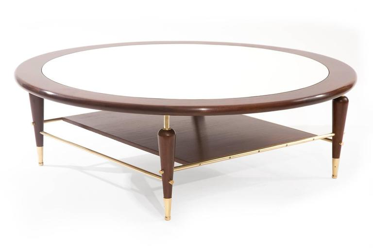 Fabulous Walnut Laminate and Brass Cocktail Table 2
