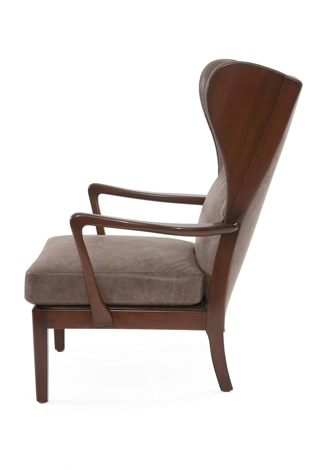 Remarkble scandinavian leather wingback chair for sale at for Leather wingback recliner sale