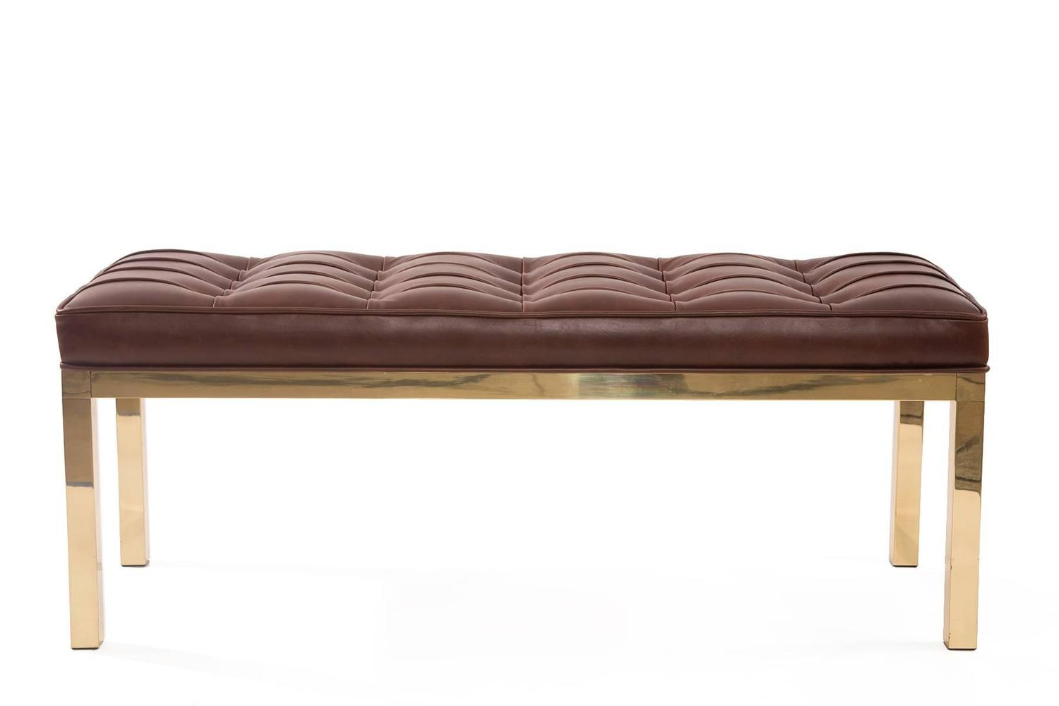 Chocolate Brown Leather And Brass Bench For Sale At 1stdibs