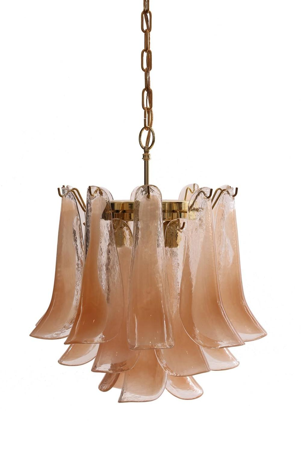 Three Tiered Murano Glass Chandelier By Mazzega For Sale