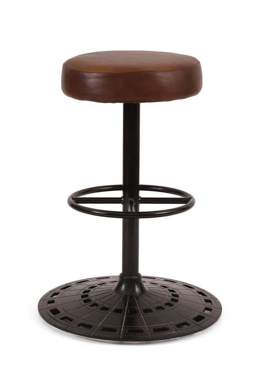 Six Leather And Cast Iron Swivel Barstools At 1stdibs