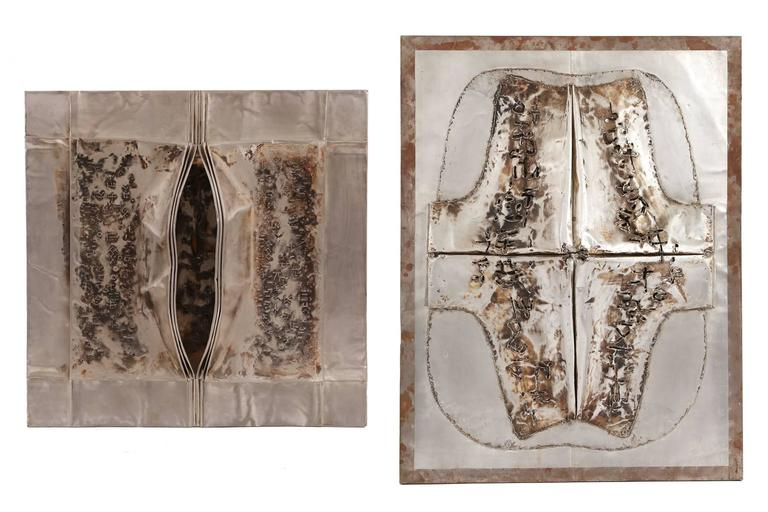 Cheung Yee 'Box 3' Embossed Textured Metal Wall Hanging In Excellent Condition For Sale In Phoenix, AZ