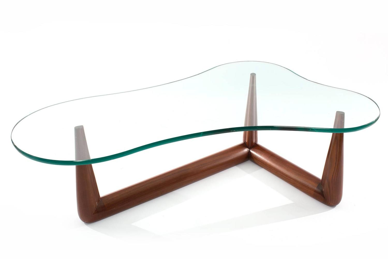 Free form glass and walnut cocktail table by gibbings for for Designer cocktail tables glass