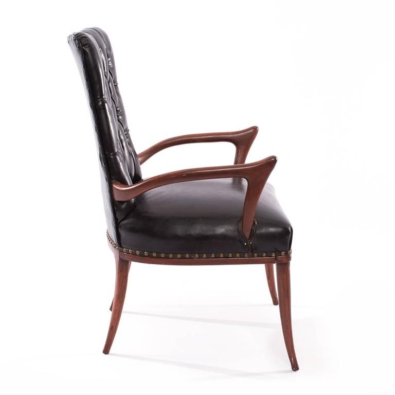 American Sculptural Mahogany and Upholstered Armchair For Sale