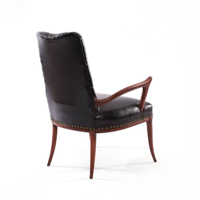 Sculptural Mahogany and Upholstered Armchair In Good Condition For Sale In Phoenix, AZ