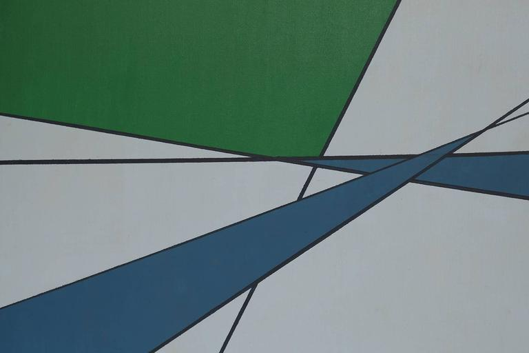 Mid-Century Modern Hard Edge Painting in Green & Blue by Rice For Sale