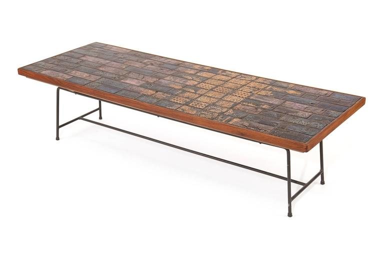 Wiinblad Tiles: Bjorn Wiinblad Tile Mahogany And Iron Cocktail Table At