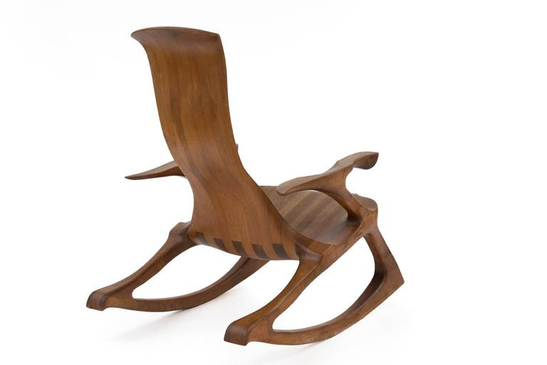 Late 20th Century Solid Walnut Studio Crafted Rocking Chair For Sale