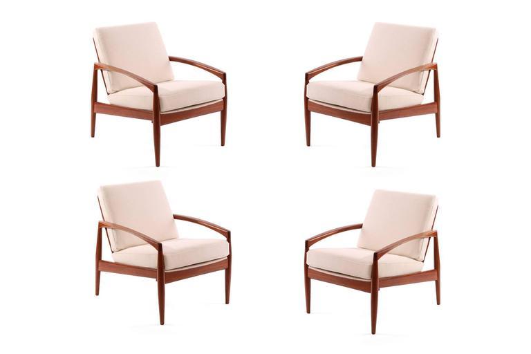 Four Kai Kristiansen Teak And Upholstered Lounge Chairs