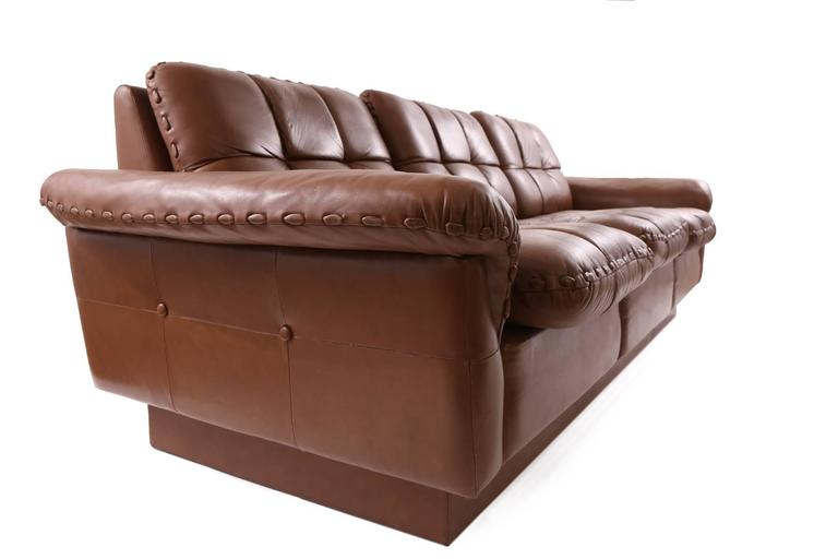 Hand Stitched Patinated Leather Sofa By De Sede For Sale