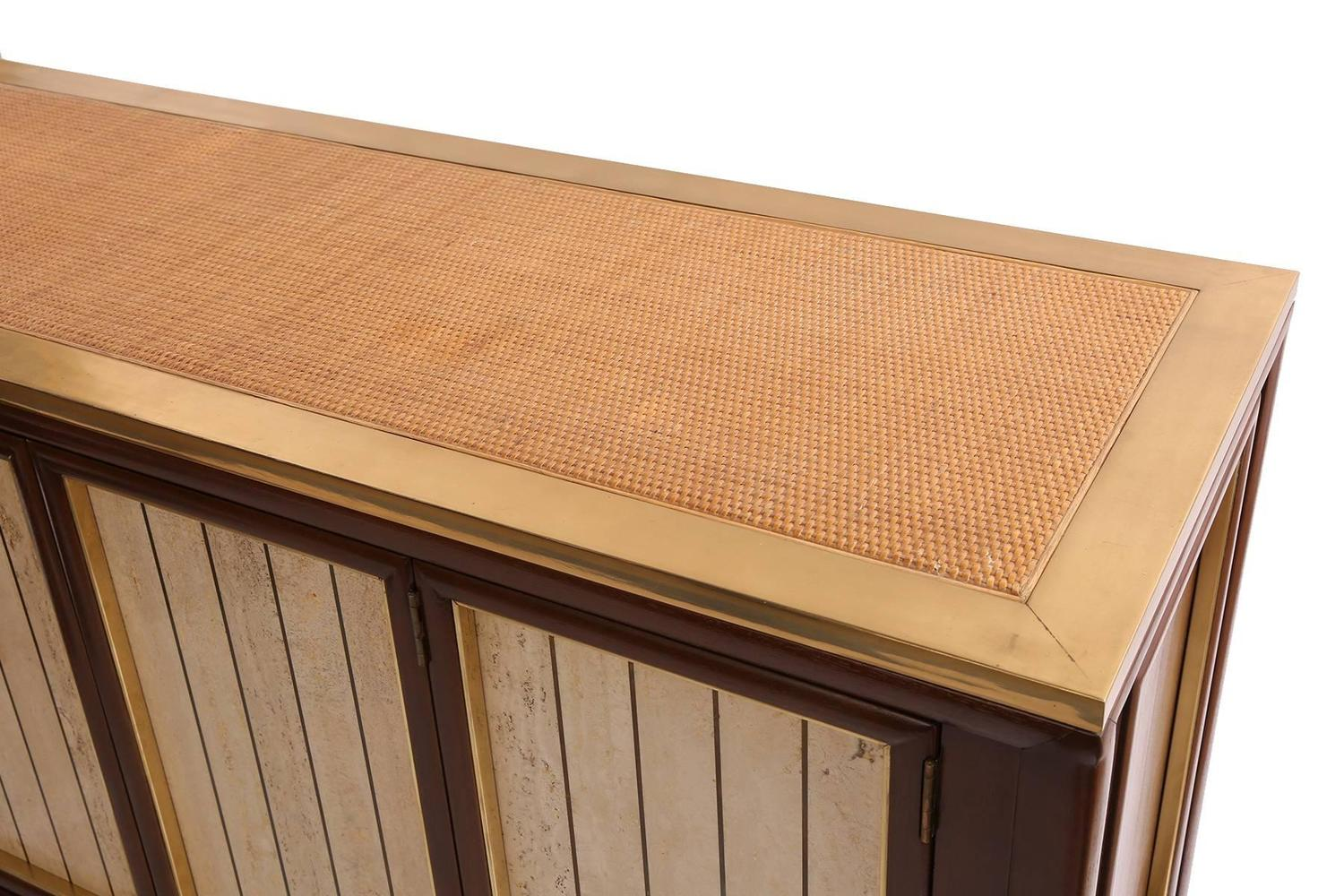 Custom brass wicker and lacquered sideboard for sale at for Sideboard rattan