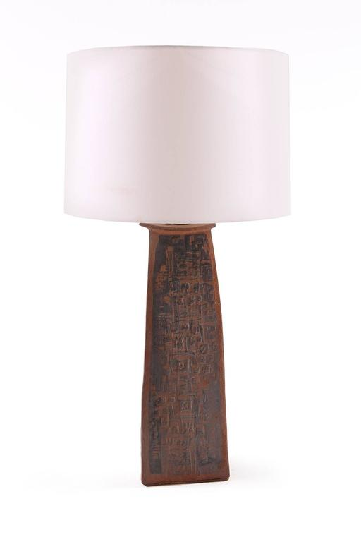 Mid-Century Modern Sculptural Studio Large Ceramic Table Lamp For Sale