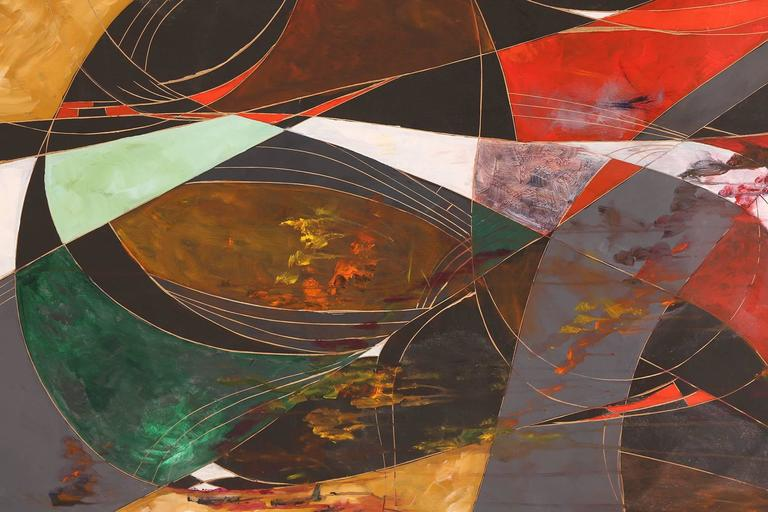 Monumental oil on board painting by George Mullen, circa mid-1960s. This example blends carving, color blocking and flow of line to create a masterful work. Can be hung vertically or horizontally.