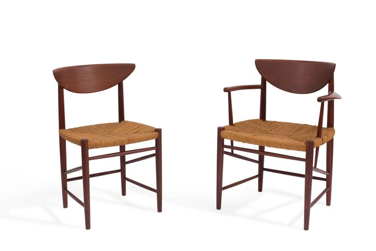 Set of six Peter Hvidt and Orla Mølgaard-Nielsen model 317 dining chairs, circa late 1950s. These all original examples have a rich deep color to the teak frames and the cord seats are in excellent original condition as well.