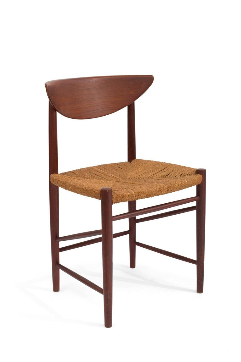 Mid-Century Modern Six Hvidt & Mølgaard-Nielsen Teak and Cord Dining Chairs For Sale