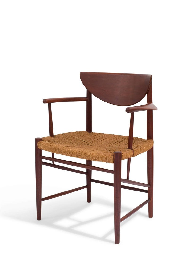 Danish Six Hvidt & Mølgaard-Nielsen Teak and Cord Dining Chairs For Sale