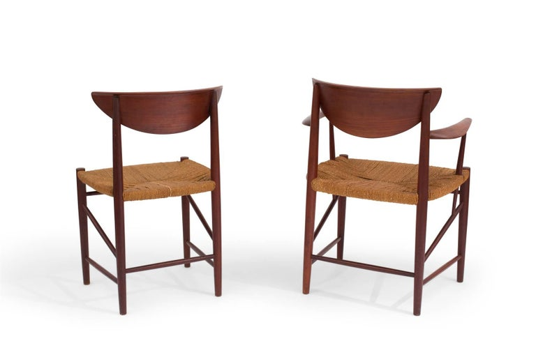 Six Hvidt & Mølgaard-Nielsen Teak and Cord Dining Chairs For Sale 1