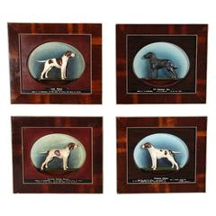 Set of Four Plaques Depicting Champion Show Dogs