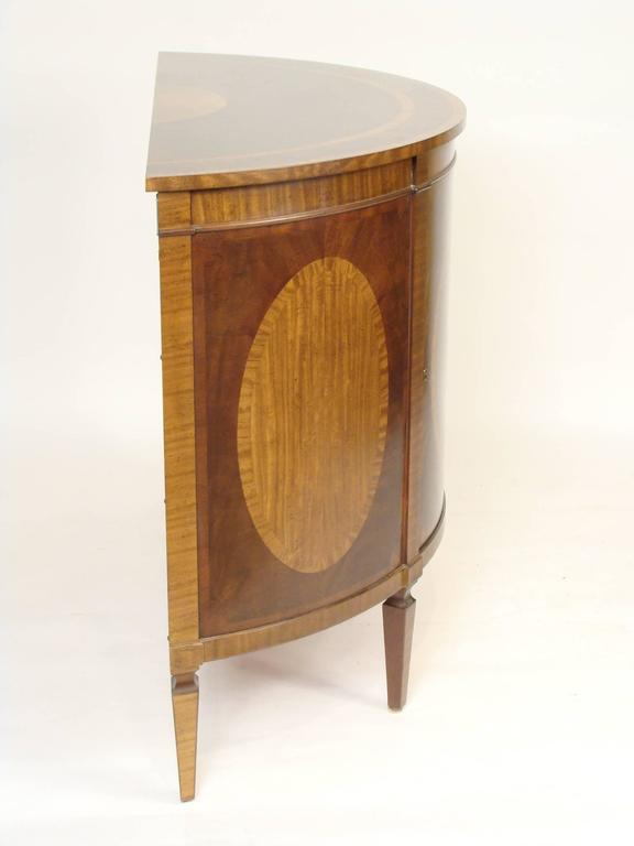 Perfect Barbara Barry For Baker English Neoclassical Style Mahogany Demilune Cabinet  With Satinwood Inlay, Circa 1990