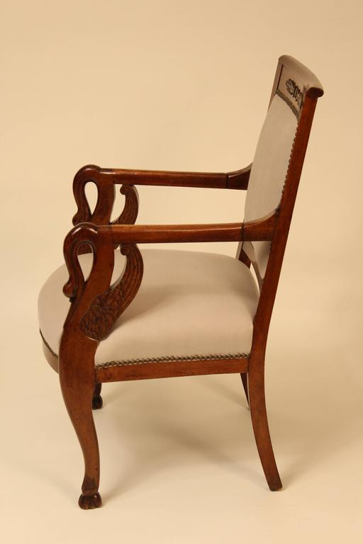 Pair of Empire Style Swan Carved Armchairs For Sale at 1stdibs