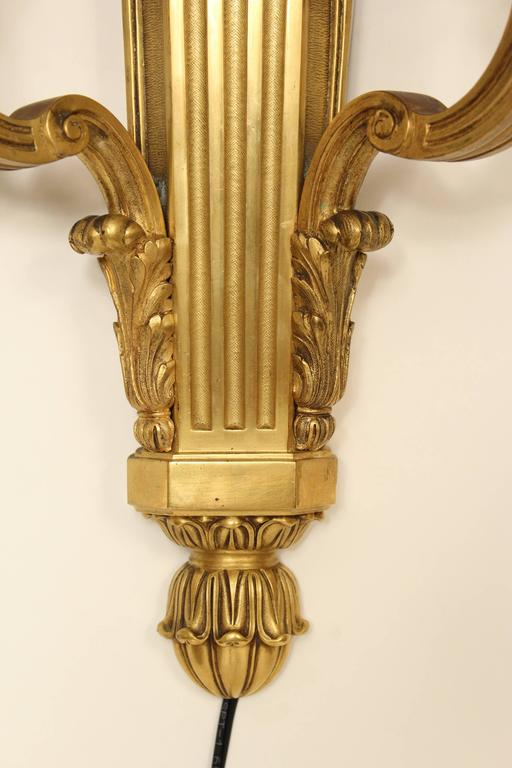 Pair of Louis XIV Style Gilt Bronze Wall Sconces In Good Condition For Sale In Laguna Beach, CA