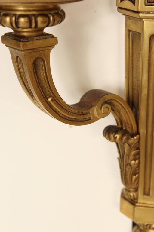 Pair of Louis XIV Style Gilt Bronze Wall Sconces For Sale 4