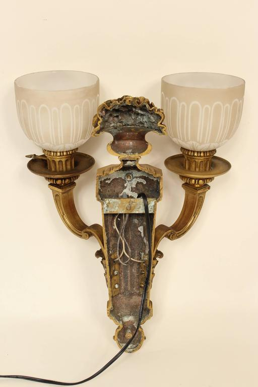Pair of Louis XIV Style Gilt Bronze Wall Sconces For Sale 5