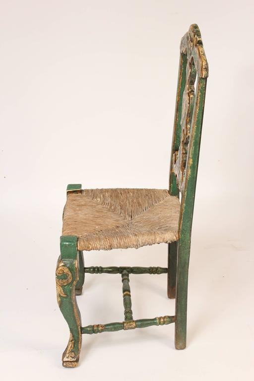 Louis XV Set of Six Painted Continental Dining Chairs For Sale