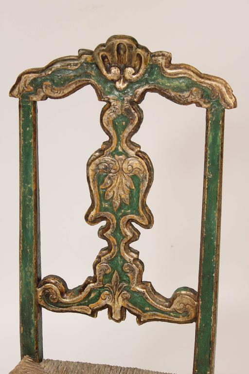 19th Century Set of Six Painted Continental Dining Chairs For Sale