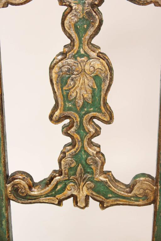Silver Leaf Set of Six Painted Continental Dining Chairs For Sale