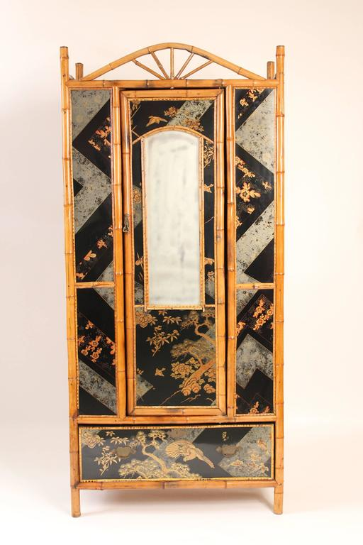 Bamboo And Chinoiserie Decorated Armoire For Sale At 1stdibs