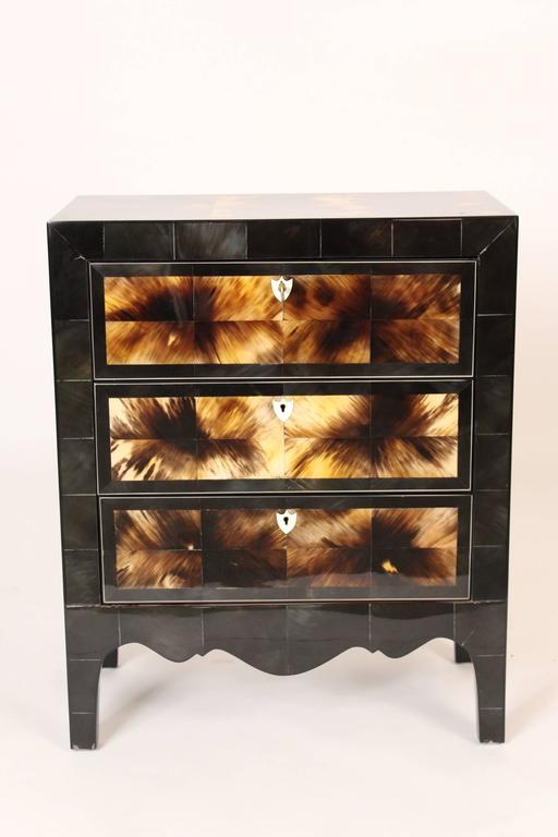 Modern style cow horn and lacquered three drawer chest of drawers, late 20th century.