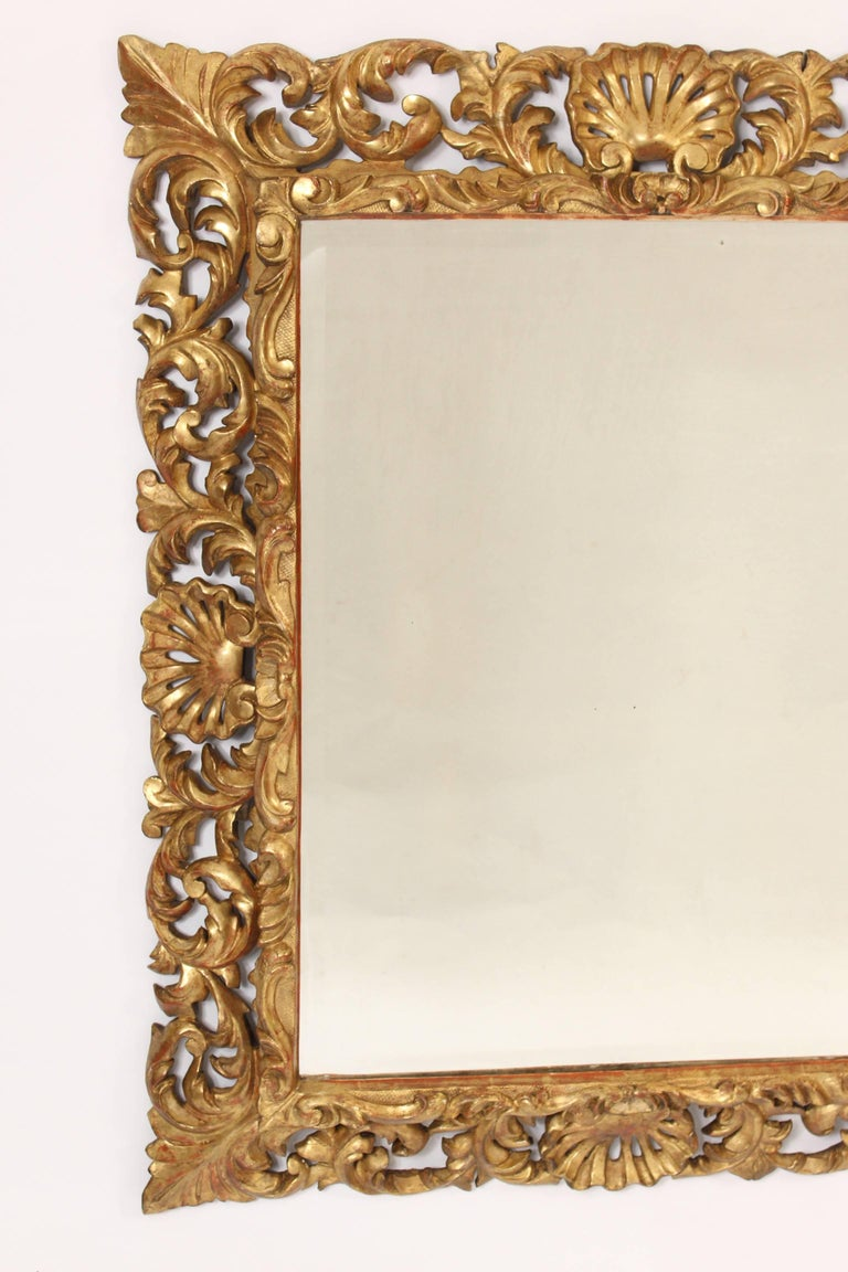 European Antique Baroque Style Gilt Wood Mirror For Sale