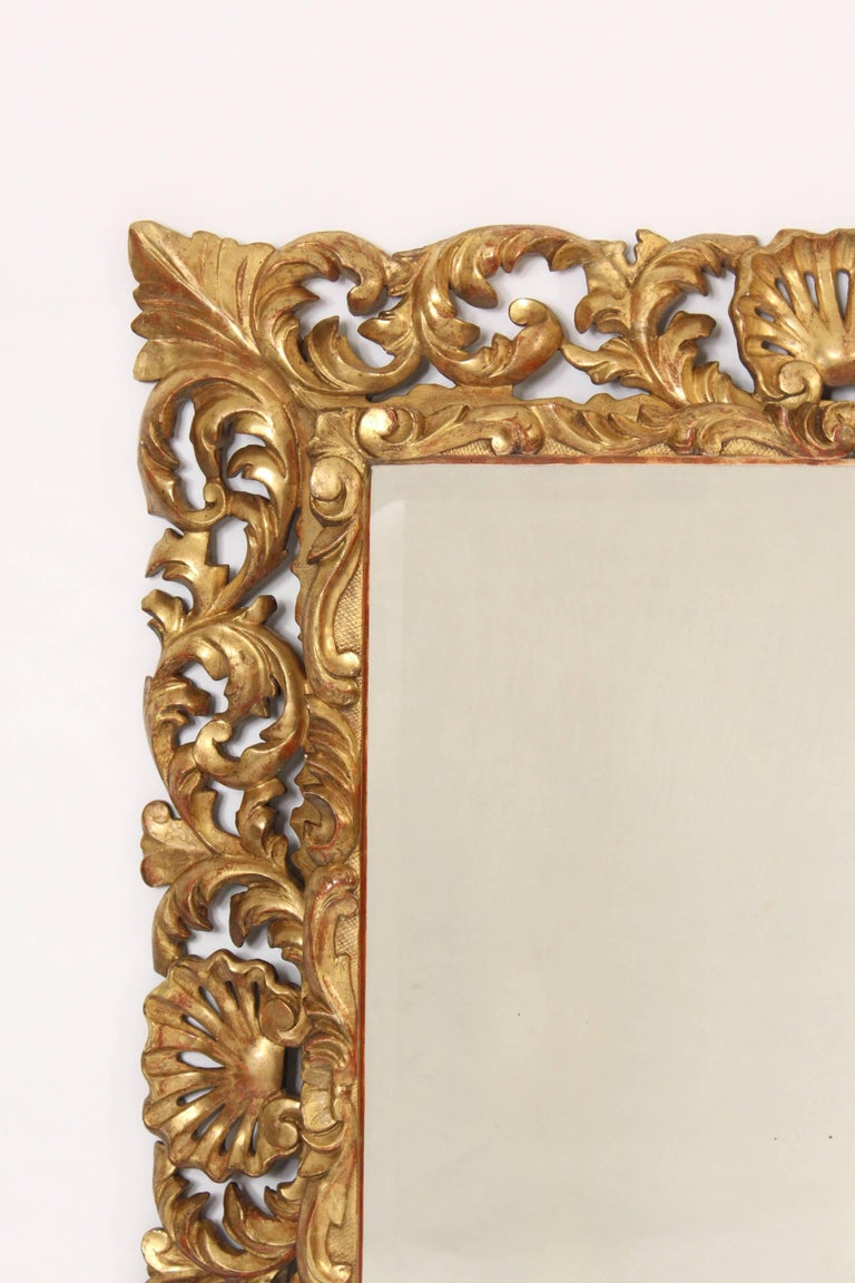 Antique Baroque Style Gilt Wood Mirror In Good Condition For Sale In Laguna Beach, CA