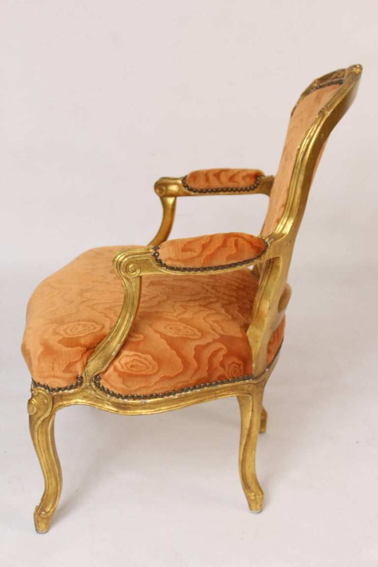 Pair of Louis XV Style Giltwood Armchairs For Sale 2