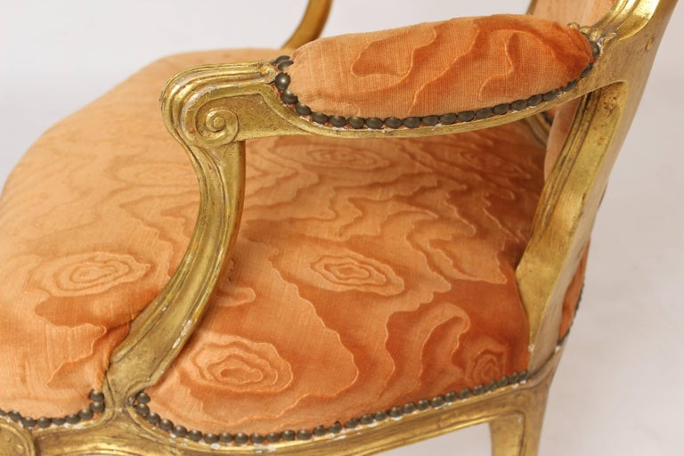 Pair of Louis XV Style Giltwood Armchairs For Sale 3