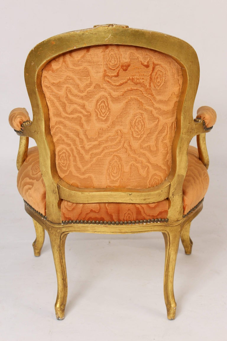 Pair of Louis XV Style Giltwood Armchairs For Sale 5